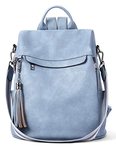Telena Mochila de viaje para mujer, piel sintética, antirrobo, grande, bolsos de moda para mujer - azul - Large