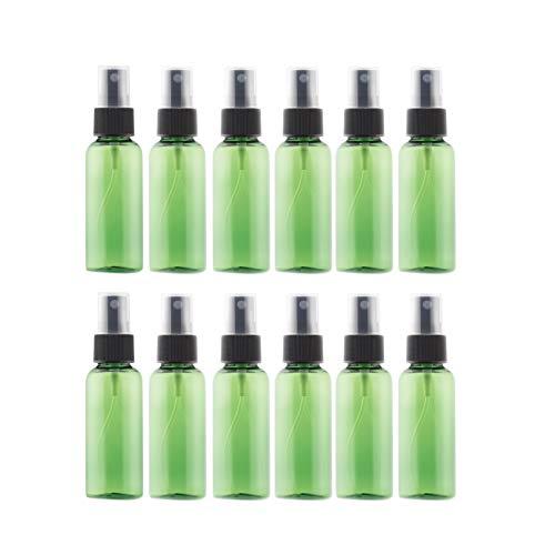 Glossia 12Pcs Botellas de de Viaje PET Verde 1.7Oz (50Ml) con Pulverizadores Negros de NebulizacióN Fina para Limpiar Plantas de Cocina de JardineríA