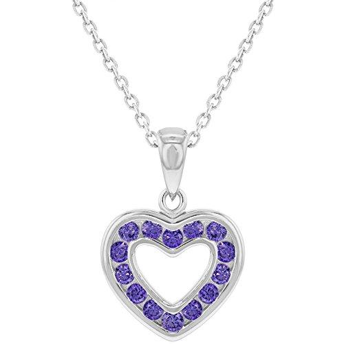 925sterling Silver Purple CZ piccolo ciondolo a cuore aperto, per bambine 40,6cm