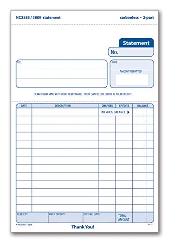 TOPS Statement Forms, 2-Part, Carbonless, 5-9/16 x 7-15/16, 50 Sets per Pack (3809)