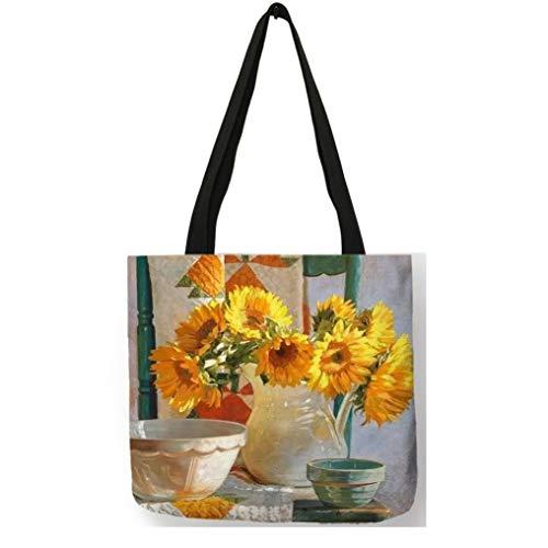 Girasol Pintura Bolsos de Mano de Lino Floral para Las Mujeres Bolso de Compras Reutilizable 001