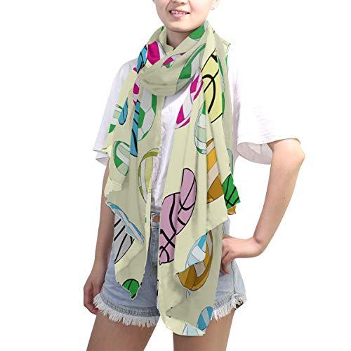 LZXO - Bufanda de baloncesto para mujer, colorida, bufanda de moda, bufanda larga, suave, ligera para todas las estaciones, bufanda