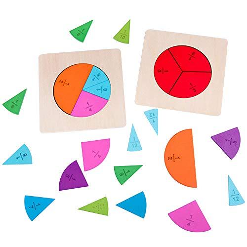 DIYARTS Tablero Circular de Fracciones Rompecabezas de Arcoíris Material Matemático Juguete de Madera 12 Juguetes de Conteo y Matemáticas Codificados por Colores para Niños Edad Preescolar Niños