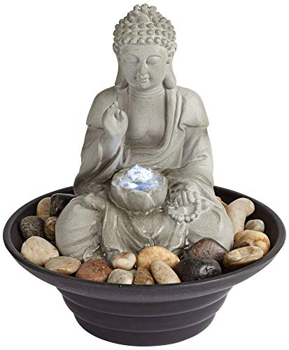 John Timberland Asian Zen Sitting Buddha Indoor Table-Top Water Fountain with Light LED 10' High for Table Desk Office Home Bedroom Relaxation