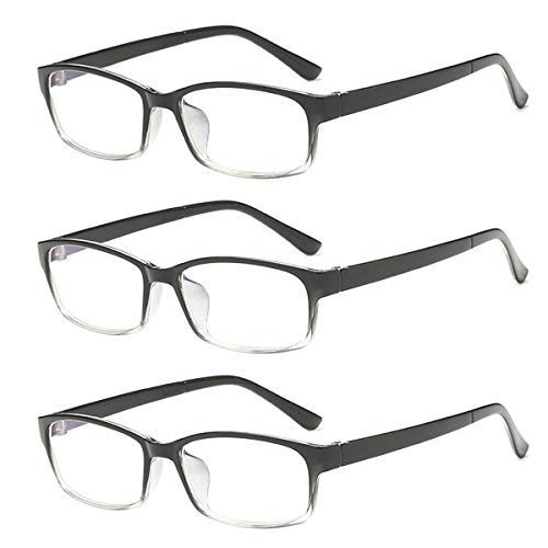 3 PRS Myopia Glasses for Mens Womens -2.0 Gradient Black Distance Glasses Nearsighted Shortsighted Eyeglasses