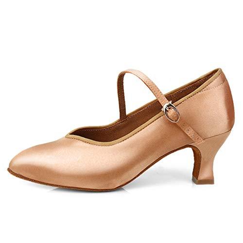 SWDZM Donna Scarpe da Ballo Latino Salsa Moderna Tango Valzer Scarpe da Ballo da Sala Model-WX138-5.5CM Marrone EU37