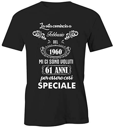 Puzzletee Maglietta Compleanno Febbraio Uomo - La Vita Comincia a Febbraio del 1960 - Mi Ci Sono Voluti 61 Anni per Essere così Speciale - Magliette Simpatiche e Divertenti - Idea Regalo Compleanno