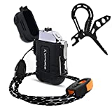 Extremus Weatherproof Outdoor Lighter,Paracord Carabiner Survival Tool,USB Rechargeable Flameless Lighter for Camping,Hiking,and Other Outdoor Adventures,Black