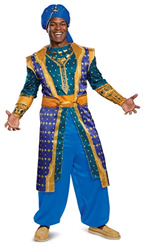 Disguise Men's Plus Size Genie Deluxe Adult Costume, Blue, XXL (50-52)