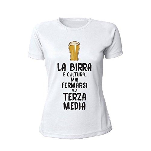 Altra Marca T-Shirt Donna Bianca Personalizzata Maglietta Femminile Originale La Birra è Cultura - L