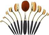 HSC Set dePinceles de Maquillaje Super SoftOval Makeup Blending Pinceles Set de Pinceles cosméticos básicos 10Pcs, Negro