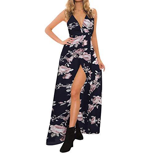QUNLIANYI Schaatsjurk Vrouwen met Diepe V-kraag Zomerjurken Lange jurken Mouwloos Avondfeest Zomer Strand