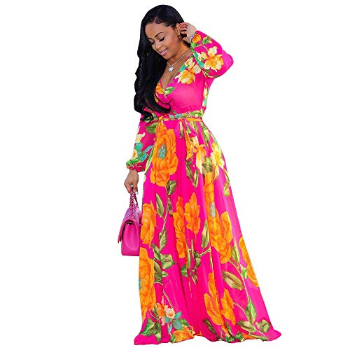 Nuofengkudu Womens Chiffon V-Neck Printed Floral Maxi Dress Long Sleeves Dresses High Waisted Belt Plus Size (Rose) XXL