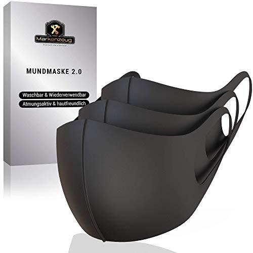 MARKENZEUG© Premium Behelfs- Mund- und Nasen Schutz Bedeckung [3er Set] - Verbesserte Version 2020- Schwarz aus Stoff Polyester Staub Mundtuch Style Unisex - wiederverwendbar waschbar 3D Design