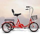 Triciclo de Adultos Triciclo Adulto Bicicleta De Tres Ruedas Con Cesta De Compras Trible Biciclete Biciclete 16 Pulgadas De Triciclo Adulto Para Personas Mayores Mujeres Hombres Trikes Rec(Color:rojo)