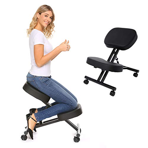 Ergonomic Kneeling Chair,Adjustable Stool for Home and Office,Posture Corrective Chair, Angled Kneeling Chair,with an Angled Seat Thick Comfortable Cushions (Black)