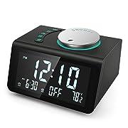#LightningDeal 【2021 Newest】 ANJANK Small Digital Alarm Clock Radio - FM Radio,Dual USB Charging Ports,Dual Alarms with 7 Alarm Sounds,Adjustable Volume,Temperature,5 Level Brightness Dimmer,Battery Backup,Bedrooms