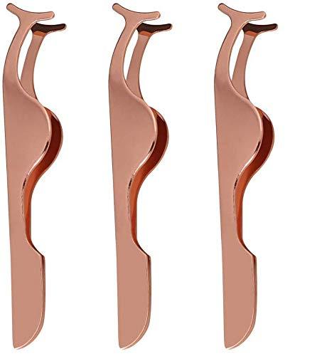 Pince à Cils, Yuanzi 3 Pièces Outil d'Applicateur de Faux Cils Pinces d'Extension de Cils Pinces à épiler