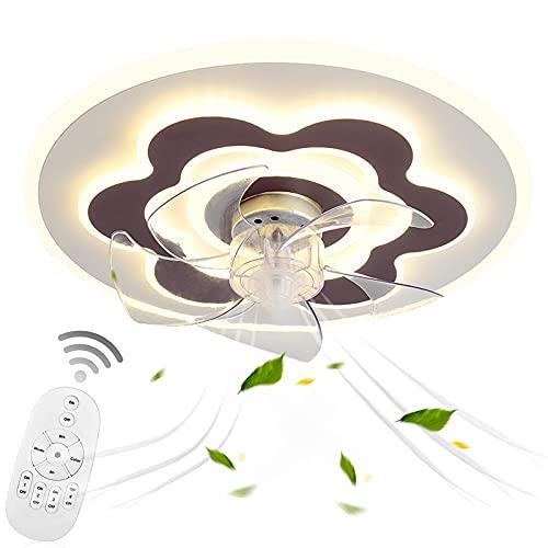 VOMI Ventilador de Luz de Techo Regulable Led de Techo con Fan Control Remoto 3 Velocidades, Lámpara Plafon con Fan Silencioso 76W para Dormitorio Cuarto de Los Niños Salón, Forma Redonda, 5 Aspas