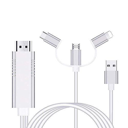 AMANKA Adaptador Cable HDMI,1080P Adaptador 3 in 1 AV Digital Convertidor Telefono a HDMI Adaptador para Teléfono a Monitor de Proyector de TV Compatible con Huawei/Sansumg Galaxy Note/Sony y Más