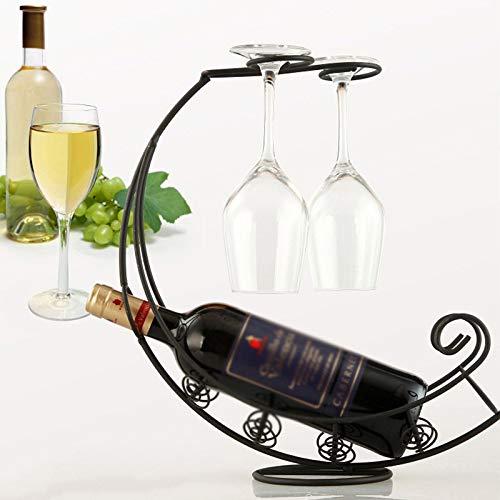 NXYJD Creativa del Vino del Metal Colgador Vino Titular Glass Bar del Soporte del Soporte de exhibición del Soporte de decoración (Color : B)