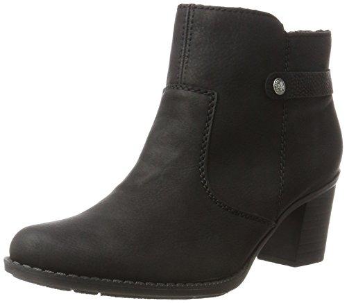 Rieker Damen Stiefeletten L7661, Frauen Ankle Boots, Winterstiefeletten weibliche Lady Ladies feminin elegant Women's,schwarz/schwarz,41 EU / 7.5 UK