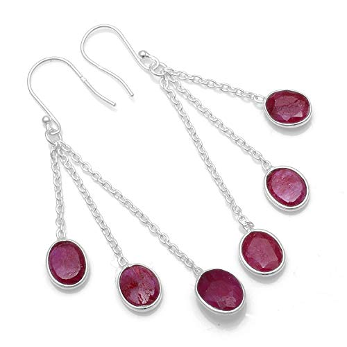 Silver Palace 925 Sterling Silver Natural Ruby Drop Dangle Earrings for Women