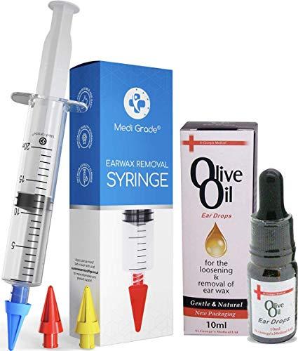 Medi Grade Spritzen - Set mit Olivenöl-Spray und 3 x Sanften Quad-Stream Spitzen - Wiederverwendbare Ohrenschmalz Entferner – Ohr Reinigung von Zuhause aus - Ohrenschmalz Entfernen und Besser Hören