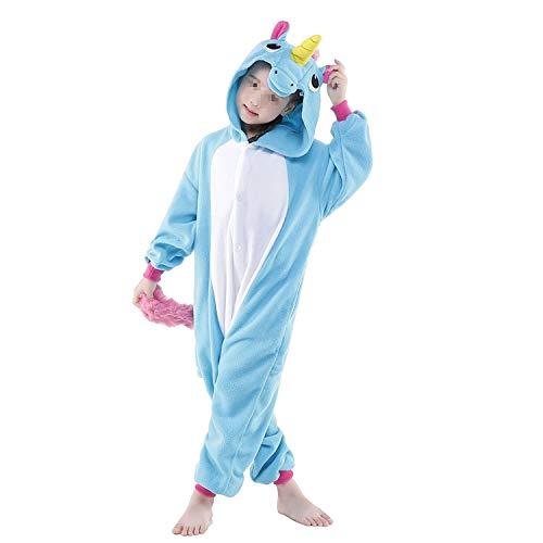 Black Sugar Mono Kigurimi Pijama Pijama de cebra, búho, vaca, unicornio, dinosaurio, jirafa, niño, unisex, de peluche suave, disfraz de carnaval, cosplay de noche azul 8-10 años