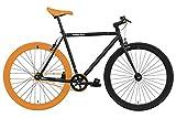 FabricBike- Bicicleta Fixie, piñon Fijo, Single Speed, Cuadro Hi-Ten Acero, 10Kg (S-49cm, Black & Orange 3.0)