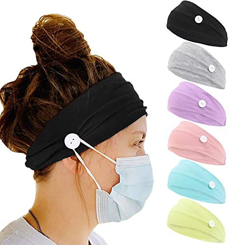 6 Pack Fashion Workout Headbands for Women Non Slip Elastic Wide Soft Turban Headbands Yoga Exercise Sweat Wicking Hair Band Solid Color Workout Headwraps Hair Accessories