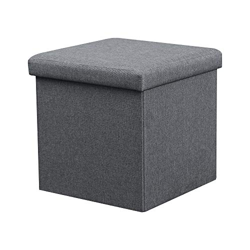 """LOKATSE HOME 15"""" Folding Storage Ottoman Cube Small Coffee Table Footrest Stool Seat Toy Box for Kids, 15""""x15""""x15"""", Grey(Faux Linen)"""