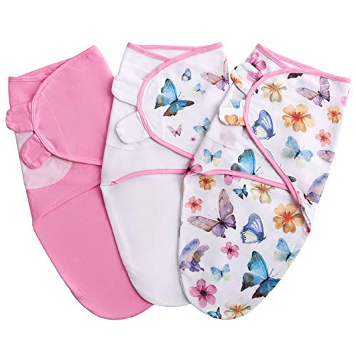 Baby Swaddle Blanket for Newborn Girl 03 Months Small/Medium 3 pcs Infant Swaddle Sack in a Gift Box 100% Cotton Adjustable Swaddle Wrap Butterfly/Pink/White