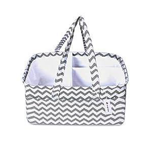 Baby Diaper Caddy Organizer- Stylish Nursery Caddy Organizer Large Portable Diaper Storage Basket for Changing Table & Car- Baby Shower Gift Basket – Newborn Essentials Must Haves- Grey Chevron