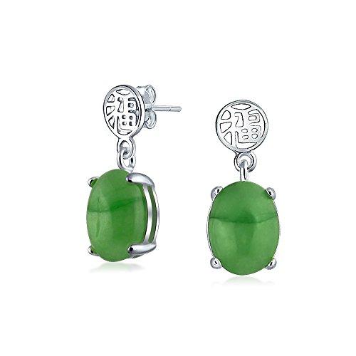 Estilo Asiático, Teñido De Verde Jade Buena Fortuna Chino Colgante Gota Pendiente De Plata Esterlina 925 Mujer