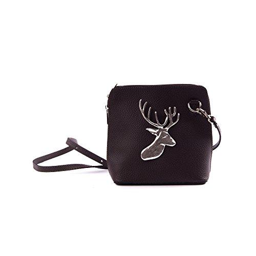 Almbock Trachten-Tasche Mia aus echt Leder - in dunkel-braun mit alt-silberner...