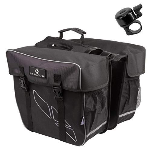 maxxi4you aanbiedingsset / 1 x M-Wave Amsterdam Double bagagedrager tas fietstas dubbele tas zwart 30 l incl. 1 fietsbel