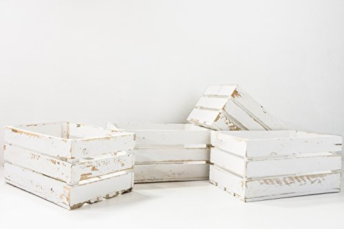 Set de 4 Cajas de Fruta Sam, Madera, Blanco Vintage, 49x31x24cm, 4 Unidades. Incluye Imán Personalizable de Regalo.