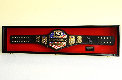 "WWE WWF WRESTLING CHAMPIONSHIP ADULT SIZE BELT DISPLAY CASE FRAME CABINET BOX 54"" (Black Finish, Red Background)"