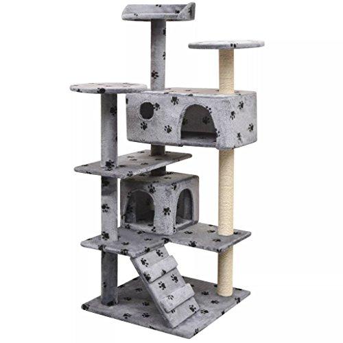 Binzhoueushopping krabpaal voor katten, sisal, 125 cm, grijze palen, totale afmetingen: 67 x 67 x 125 cm