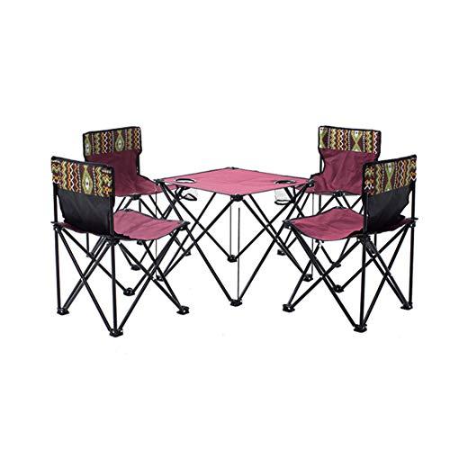 N / A Die Kombination aus Camping-Tisch und Stuhl aus Edelstahl, hochwertigen Oxford-Materialien, verbreitert und leicht, die Armlehne aus Perlbaumwolle ist bequem und tragbar