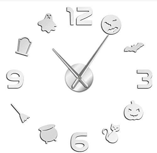 YAZCC Fledermaus Kürbis DIY Wanduhr Acrylspiegel Halloween Dress Up Home Decoration Uhr (Silber)
