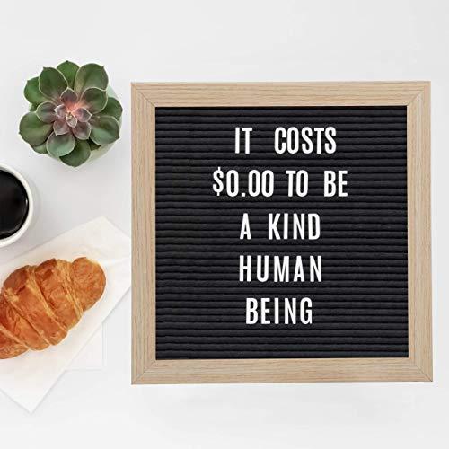 Relaxdays, schwarz Letterboard, 25 x 25 cm, Holz, 900 x Zeichen, Buchstaben, Buchstabentafel, Message Board, Wandmontage, Standard