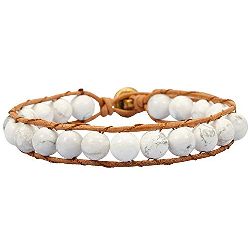 Natuurlijke stenen armband, kralen armband, 8 mm mode yoga energie Lucky armband wit turquoise steen met de hand gemaakt decoratieve sport kralen yoga armband gepersonaliseerde kleding accessoires sieraden gift