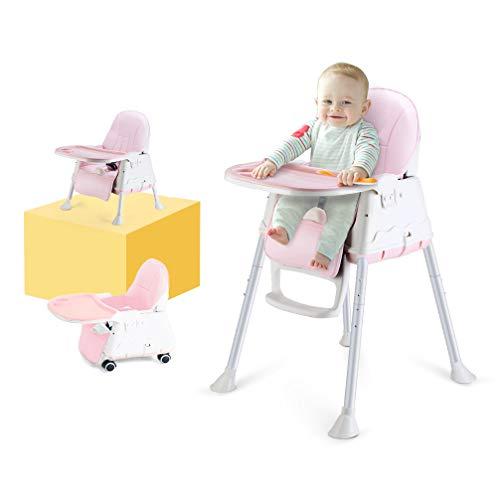 Kinderhochstuhl, LADUO 3-in-1 Portable Hochstuhl, Kleinkind Booster Seat, Baby-Fütterungsstuhl mit Tablett, Rad & Kissen (Rosa)