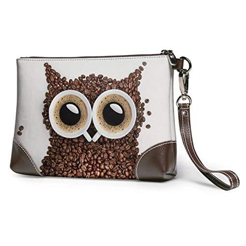 XCNGG Kaffeebohne Eule gedruckt Clutch Geldbörse Abnehmbare Leder Wristlet Brieftasche Damen Handtasche