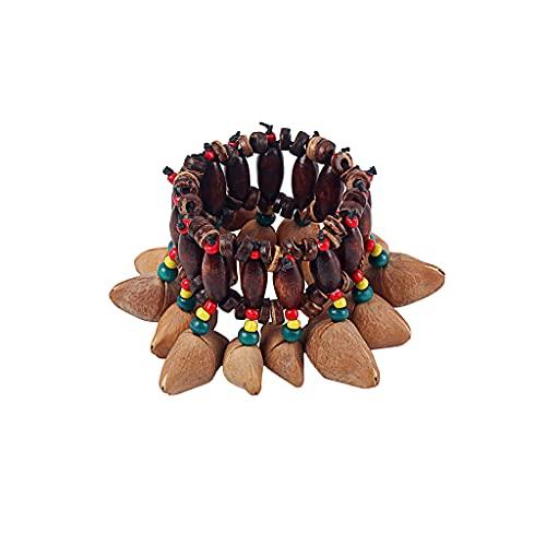 Alnicov Africano estilo tribal tuercas Shell pulsera Handbell para Djembe...