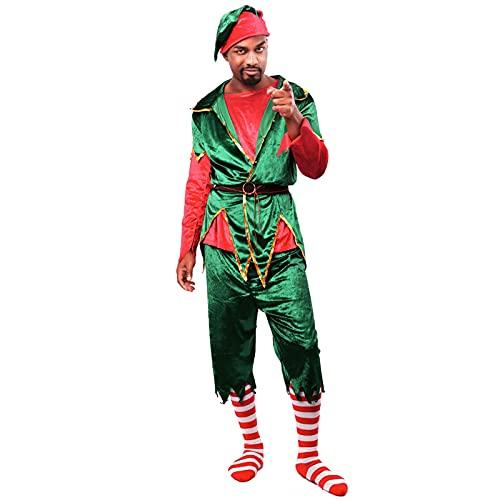 HBHBYNYN Traje de Elfo Adulto Navidad Elegante Vestido Traje Santa ayudante Traje de Navidad (Color : Green, Size : XL)