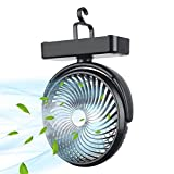 10000mAh Battery Operated Camping Fan with Led Lantern,Rechargeable Tent Fan, 70 Working Hours Max Portable Personal USB Desk Fan with Hanging Hook for Tent Car rv Hurricane Emergency Outages Office