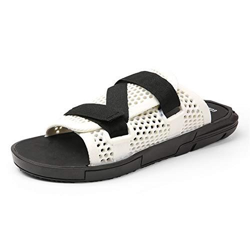 Zapatillas de ocio para hombres Diapositivas de punta abierta Zapatos de playa Ajustable Hook & Loopstrap Hollow Out Jackanapes Use tolerante antideslizante ( Color : White , Size : 40 EU )